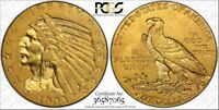 1908 $5 INDIAN PCGS AU 55 1908 FIVE DOLLARS GOLD COIN HALF E