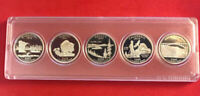 5 SILVER 2005 S PROOF DEEP CAMEO STATE QUARTERS MIRROR FINISH IN COIN CAPSULES