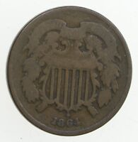 TWO CENT   1860S US 2 CENT PIECE   FIRST COIN WITH IN GOD