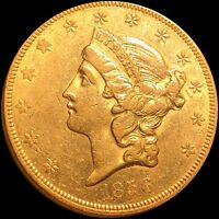 1856 CORONET HEAD DOUBLE EAGLE $20 BORDERLINE UNCIRCULATED R