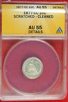 1875 ANACS VF30 DETAILS CLEANED SEATED LIBERTY TEN CENT   B5
