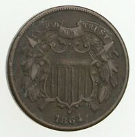 TWO CENT   1864 US 2 CENT PIECE   FIRST COIN WITH IN GOD W