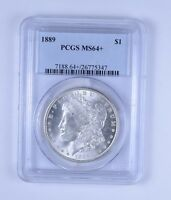 PLUS GRADE MS64  1889 MORGAN SILVER DOLLAR   PROFESSIONALLY