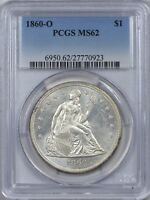 1860 O SEATED LIBERTY SILVER DOLLAR PCGS MINT STATE 62 - LUSTROUS