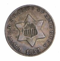 1853 SILVER THREE-CENT PIECE - TRIME - CIRCULATED 9776