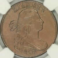 1803 SMALL DATE, SMALL FRACTION DRAPED BUST LARGE CENT NGC AU58