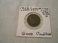 COIN:USA: 1828 CORONET HEAD LIBERTY 1 CENT/ LARGE CENT/ SMALL WIDE DATE ORIGINAL