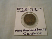 COIN:USA: 1849 BRAIDED HAIR LIBERTY 1 CENT  FINE 2 QUALITY LARGE CENT COIN