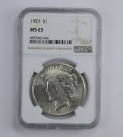 MINT STATE 63 1927 PEACE SILVER DOLLAR - GRADED NGC 0910