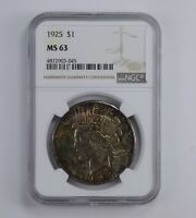MINT STATE 63 1925 PEACE SILVER DOLLAR - TONED - GRADED NGC 0909