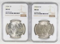 LOT 2 MINT STATE 62 1934 & 1934-D PEACE SILVER DOLLARS - GRADED NGC 0942