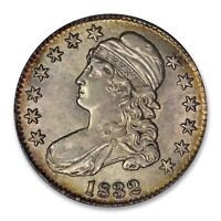 1832 CAPPED BUST HALF DOLLAR SMALL LETTERS PCGS  AU58  PQ COLOR TONED