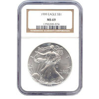CERTIFIED UNCIRCULATED SILVER EAGLE 1999 MINT STATE 69