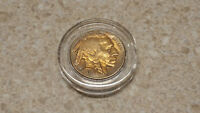 1937 P BUFFALO NICKEL  GOOD CLEAR DATE FULL HORN GOLD TONE