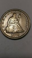 1875 S TWENTY CENT PIECE SITTING LIBERTY SILVER COIN 1875 S