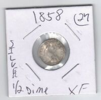 SILVER 1858, SEATED LIBERTY HALF DIME,1/2 DIME EXTRA FINE  DETAILS, WAS BENT & PUNCTURED