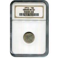 CERTIFIED BARBER DIME 1916 MINT STATE 63 NGC