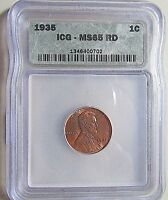 BU MS1935 LINCOLN CENTICG MINT STATE 65 REDHIGH GRADE-SHARP COLOR