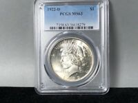 1922-D PCGS MINT STATE 63 PEACE SILVER DOLLAR BEAUTIFUL COIN LOTS OF LUSTER