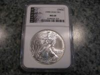 1998 MINT STATE 69 LIBERTY LABEL 1OZ AMERICAN SILVER EAGLE COIN NGC GRADED  LABEL