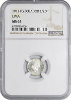 1912 FG MINT STATE 63 ECUADOR SILVER 1/2 DECIMO NGC UNC KM 55.1 20K MINTED  241 POINTS