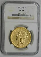 Click now to see the BUY IT NOW Price! EARLY 1855 S SAN FRANCISCO MINT $20 GOLD DOUBLE EAGLE NGC AU 53