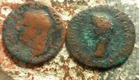 LOT OF 2 AS COINS OF AGRIPPA  NEPTUNE  AND CLAUDIUS  MINERVA    LARGER IS 30 MM