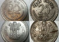 INDIA 25 PAISE 1961 AND 1972 BOTH WITH DIE CLASHES