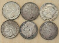 1926 1927 10 LIRE ITALY LOT OF 5 COINS