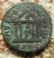 SMYRNA. TIME OF GORDIAN III. 238 244 AD. DRAPED SENATE BUST TYCHE IN TEMPLE