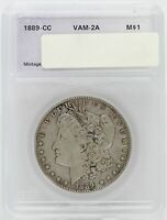1889-CC MORGAN SILVER DOLLAR $1 COIN VAM-2A DIE BREAK