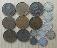 CANADA CENT 5 CENT & 10 CENT COINS. 16 COINS. JO 7169