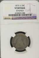 1875 S NGC VF DETAILS STAINED TWENTY CENT PIECE   B1357
