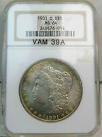 1901 O MORGAN DOLLAR NGC MINT STATE 64 VAM 39A DOUBLED TOP REV/CLASH ELITECD BR