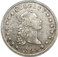 1795 FLOWING HAIR DOLLAR,  SILVER PLUG VARIETY, NGC AU DETAIL, BB-18,B-7