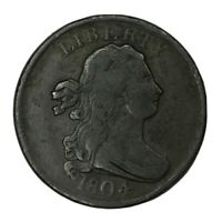1804 1/2C DRAPED BUST HALF CENT PLAIN 4 STEMS F-VF UNCERTIFIED