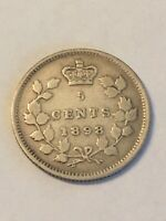 HIGH GRADE 1898 SILVER CANADA 5 CENTS 5C NICE DETAILS