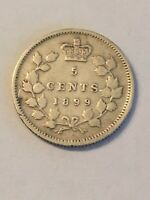 HIGH GRADE 1899 SILVER CANADA 5 CENTS 5C NICE DETAILS