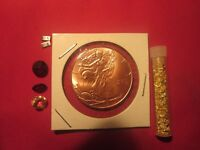 1/2 OZ. COPPER WALKING LIBERTY HALF WITH GOLD FLAKE AND 4 JEWELRY ITEMS