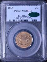 AMAZING 1865 2 CENT PIECE PCGS CAC MS65RB REED HAWN