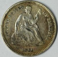 1861 H10C SEATED LIBERTY HALF DIME EXTRA FINE  UNCERTIFIED