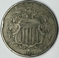1867 5C SHIELD NICKEL EXTRA FINE  UNCERTIFIED