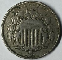 1867 5C SHIELD NICKEL F UNCERTIFIED