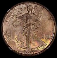 1943 NGC MINT STATE 65 RAINBOW TONED LIBERTY WALKING HALF DOLLAR