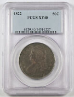 US 1822 CAPPED BUST HALF DOLLAR 50 CENT SILVER COIN PCGS EXTRA FINE 40 LY TONED