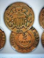 TWO CENT PIECE  U.S. COIN   5 FIVE COIN LOT MIXED DATES   1864-1873