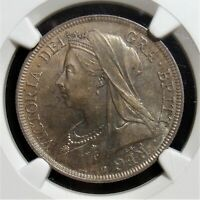GREAT BRITAIN: VICTORIA 1/2 CROWN 1900 MS65 NGC. SUPERB TONING