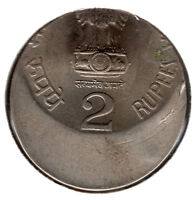 INDIA 2/  CU/NI COIN ON  OFF CENTRE ERROR