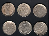 INDIA RS.5/  CU/NI 6 PC OFF CENTRE ERROR TOP CONDITION