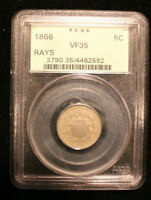 1866 SHIELD NICKEL WITH RAYS PCGS OGH VF 35 OLD GREEN HOLDER